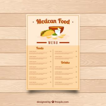 Menu restaurant, cuisine mexicaine