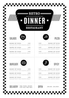 Menu de restaurant design numérique