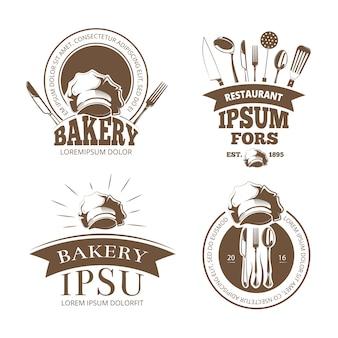 Menu de restaurant, étiquettes, emblèmes, insignes, logos
