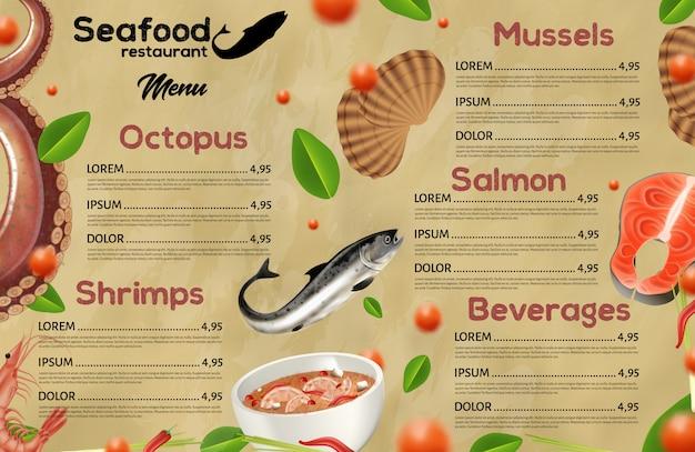 Menu de restaurant de fruits de mer, cuisine méditerranéenne