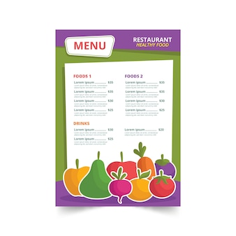 Menu de restaurant illustré d'aliments sains colorés