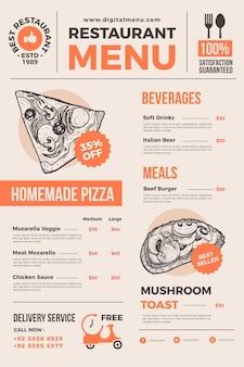Menu de restaurant illustré pour une utilisation numérique