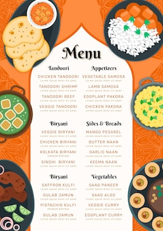 Menu de restaurant indien oriental plat