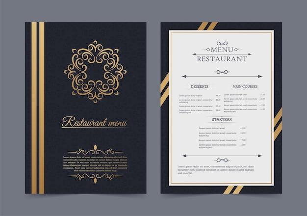 Menu de restaurant de luxe avec ornement logo