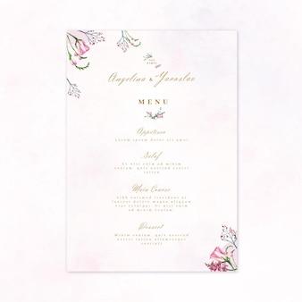Menu de restaurant de mariage floral