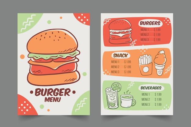 Menu de restaurant avec modèle de hamburgers