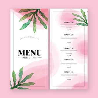 Menu de restaurant de nourriture saine aquarelle
