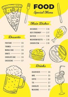 Menu de restaurant numérique au format vertical avec des aliments