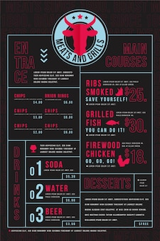 Menu de restaurant numérique au format vertical