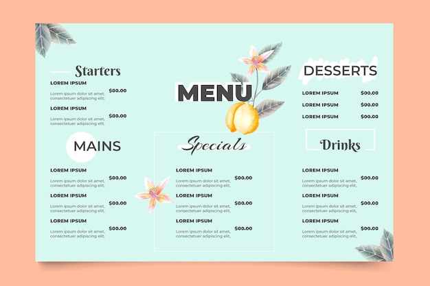 Menu de restaurant numérique avec des plats délicieux