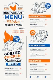 Menu de restaurant numérique style dessiné à la main