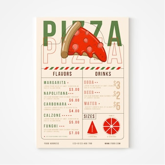 Menu de restaurant de pizza rustique plat