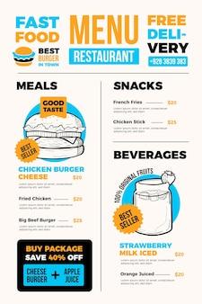 Menu de restaurant de restauration rapide numérique