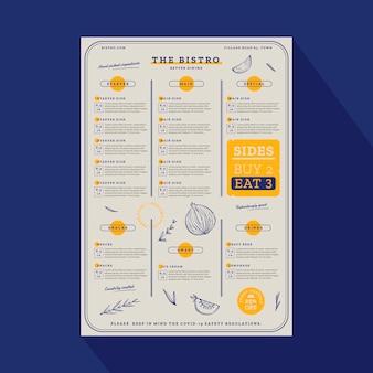 Menu de restaurant rustique dessiné à la main de gravure