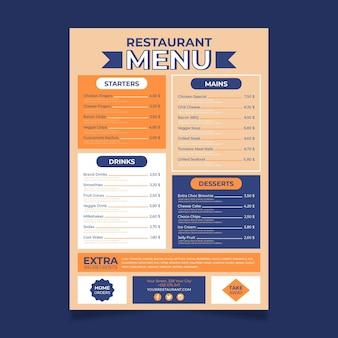 Menu de restaurant de style numérique