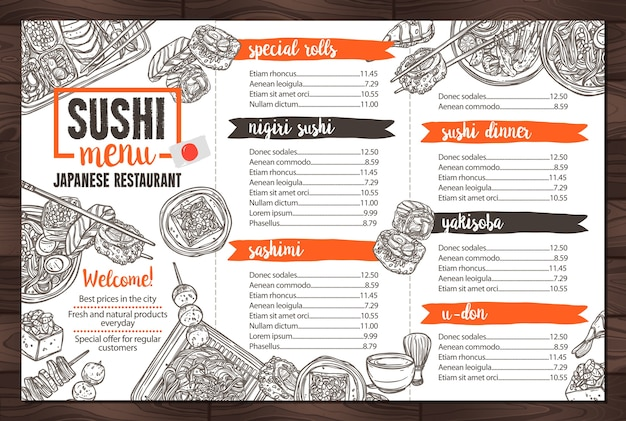 Menu de restaurant de sushi et de cuisine japonaise