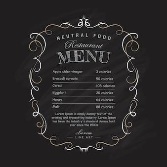 Menu restaurant tableau noir cadre dessiné à la main vintage s'épanouit illustration