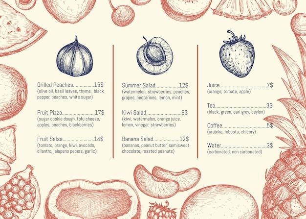 Menu de restaurant végétalien dessiné à la main