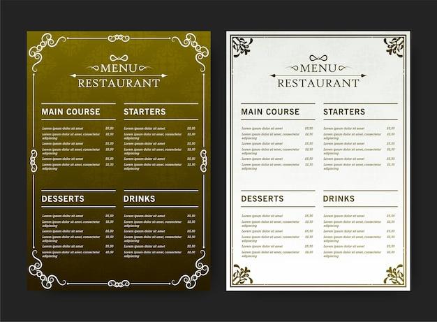 Menu de restaurant vert et blanc avec des éléments de motif de texture