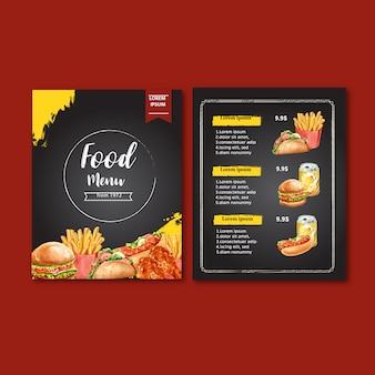 Menu de restauration rapide. cadre bordure menu liste apéritif nourriture