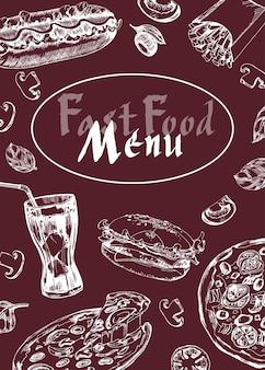 Menu de restauration rapide de café de restaurant, conception de modèle. dépliant alimentaire. vecteur de modèle.