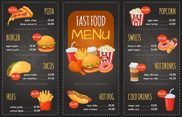 Menu de restauration rapide pizza burger tacos frites hot-dog bonbons pop-corn cola snack menu du restaurant