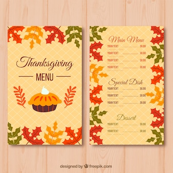Menu rétro élégant de thanksgiving