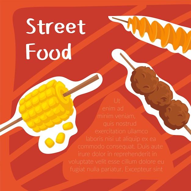 Menu de rue de pommes de terre rôties, maïs grillé et boulettes de viande. cuisiner et préparer les repas, les plats arabes se mélangent. bannière promotionnelle, affiche ou publicité avec des informations. vecteur dans un style plat