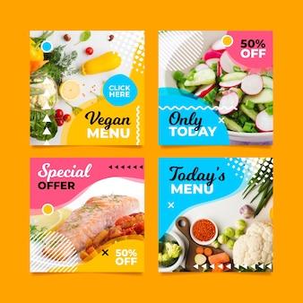 Menu spécial sur les médias sociaux du menu végétalien
