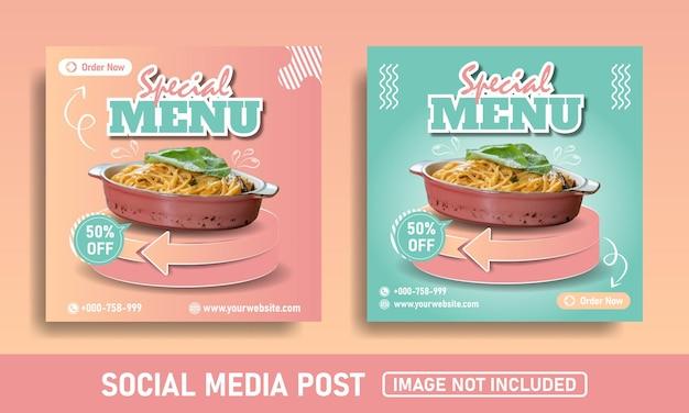 Menu spécial de modèle de nourriture de bannière de publication de médias sociaux rose et bleu flayer
