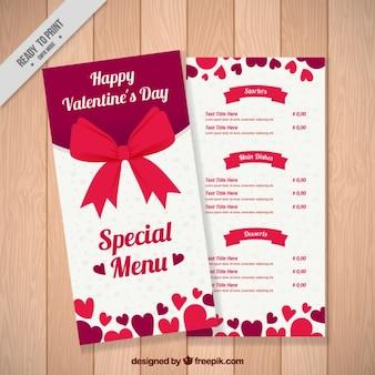 Menu spécial saint-valentin avec l'arc rouge