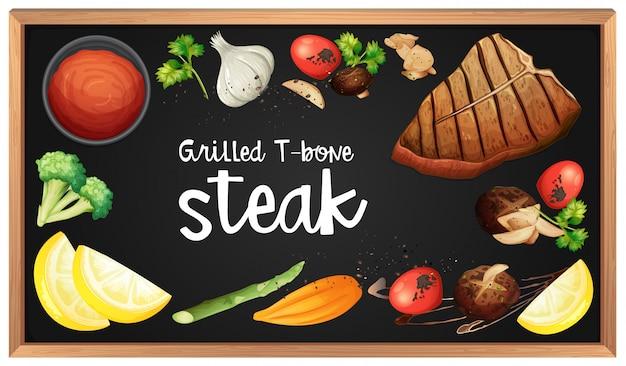 Menu steak et élément sur tableau noir