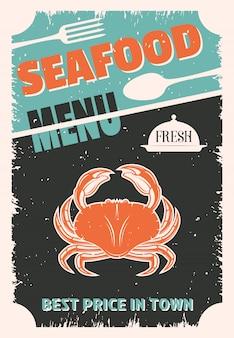 Menu de style rétro de fruits de mer avec crabe rouge sur des couverts et un plateau usés noirs