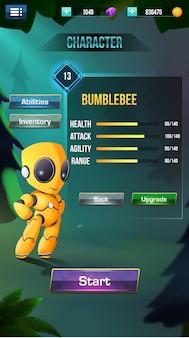Le menu styliser les éléments de l'interface utilisateur du jeu s'affiche
