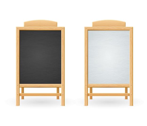 Menu tableau noir et blanc isolé. cadre en bois.
