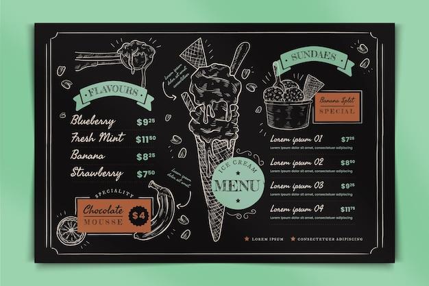 Menu de tableau noir de crème glacée dessiné à la main de gravure