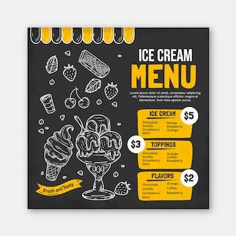 Menu de tableau noir de crème glacée dessiné à la main