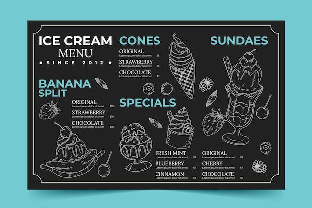 Menu de tableau noir de crème glacée dessinée à la main de gravure