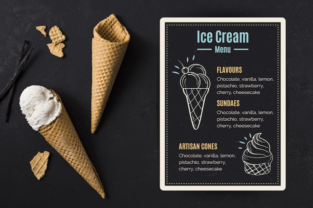 Menu de tableau noir de crème glacée