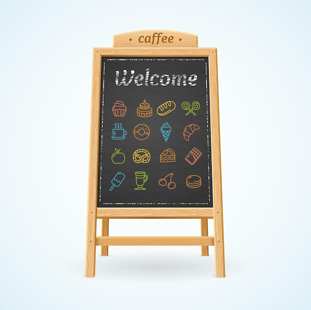 Menu tableau noir et icônes de couleur pour cafés et restaurants.
