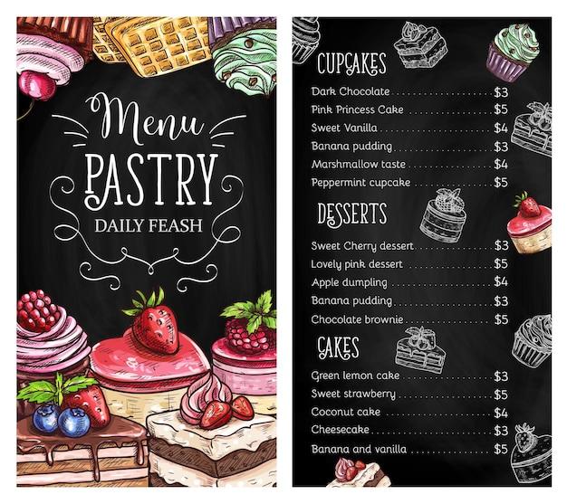 Menu tableau de pâtisseries et desserts