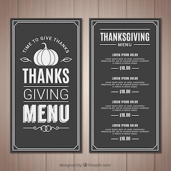 Menu de thanksgiving rétro sur l'effet tableau noir