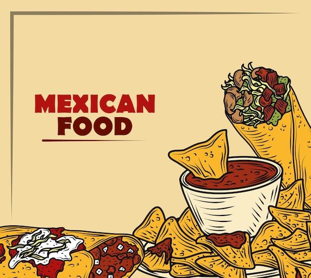 Menu traditionnel de la cuisine mexicaine avec enchilada burrito tacos, couleur vintage gravé