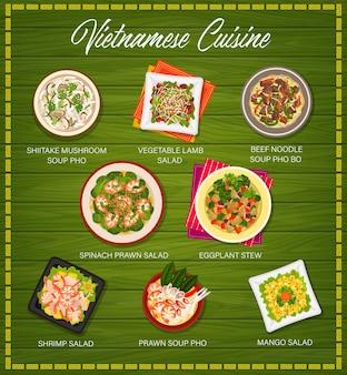 Le menu vectoriel de la cuisine vietnamienne couvre la soupe aux champignons shiitake pho, la salade d'agneau aux légumes et la soupe au bœuf ou aux nouilles pho bo. salade de crevettes aux épinards, ragoût d'aubergines et salades de crevettes ou de mangue repas vietnamiens