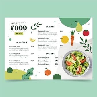Menu végétarien design plat dessiné à la main