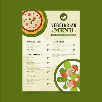 Menu végétarien design plat