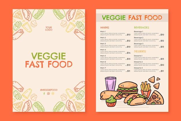 Menu végétarien dessiné à la main