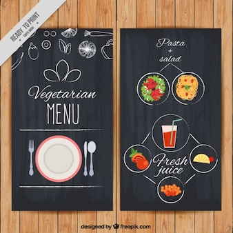 Menu végétarien avec des dessins en vigueur tableau noir