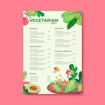 Menu végétarien sain aquarelle