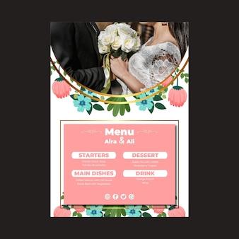 Menu vertical de mariage floral